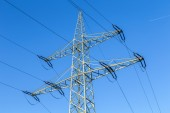 Transmission tower with power lines  — Stock Photo