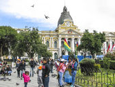 People at Legislative Palace, seat of the government since 1905, — Stock Photo