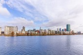 Westhafen tower in the harbor area in Frankfurt at river Main — Stockfoto
