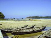 Fisherboats at the beach in Myanmar — Foto Stock