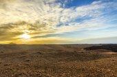 sunset at Timanfaya volcanic national Park in Lanzarote — Stock Photo