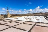 Salt piles in the saline of Janubio in Lanzarote with old toteen — Stock Photo