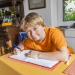 Cute pupil writes in a book and prepares homework — Stock Photo #68103243