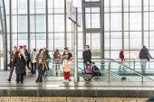 People travel at Alexanderplatz subway station in Berlin — Stock Photo