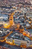 Aerial of Frankfurt am Main at night  — Stock fotografie
