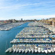 Aerial panoramic view on old port in Marseille — Stock Photo #69816145
