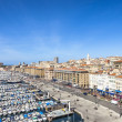 Aerial panoramic view on old port in Marseille — Stock Photo #69822533