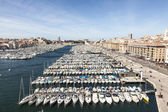 Aerial panoramic view on old port in Marseille  — Foto de Stock