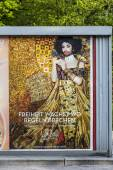 Poster at a bus stop, vienna is prepared for the european song c — Stock Photo