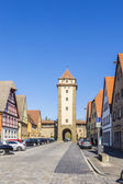 Old castle gate with castle tower of Rothenburg ob der Tauber in — Stock Photo