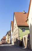 Half timbered houses in a narrow street  in Rothenburg — Stock Photo