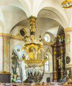 Famous Fischerkanzel in the Trunesco abbey — Stock Photo