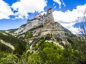 landscape of south of France, Rochecolombe, Drome, Rhone, Alps — Stock Photo