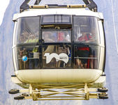 Overhead cable car over Sugarloaf Mountain, Rio De Janeiro, Braz — Stock Photo