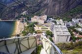 Overhead cable car over Sugarloaf Mountain, Rio De Janeiro, Braz — Stock Photo