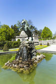 Bronce horse statue in the fountain of the Mirabell Gardens — Stock Photo