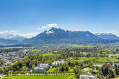 View to Salzburg from the castle Hohensalzburg and the alps — Stock Photo