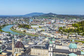 View to the old city of Salzburg from the castle Hohensalzburg — Stock Photo