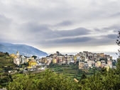 Typical old village in the Levante, Italy under cloudy sky — Stock Photo