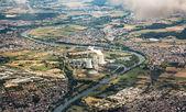 Aerial of Grosskrotzenburg power station, Main river, Germany, H — Stock Photo