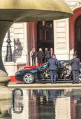 Former german president christian wulff leaves the celebration o — Stock Photo