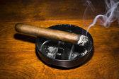 Cigar smoking in ashtray — Stock Photo