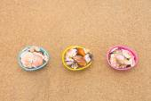 Easter egg baskets on beach — Stock Photo