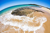Fisheye view of tropical beach — Stock Photo