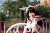 KAGAWA, JAPAN - September 28: Japanese anime character cosplay pose in Anime Event in Kagawa 2014 on Sept 28, 2014 at Reoma World Park, Marugame, Kagawa, Japan. — Foto de Stock