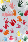Colorful hand prints — Stock Photo