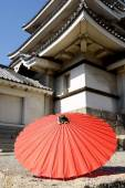 Japanese traditional red umbrella — Stock Photo