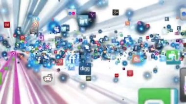Social Network Icons fly, shine, white — Stock Video