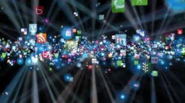 Icônes de réseau social battant, brillant, noir — Vidéo