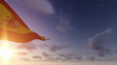 Spain Flag against Time Lapse Clouds — Stock Video
