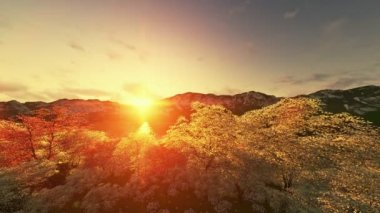 Spring scenery sunset, mountain and lake, camera tilt — Stock Video