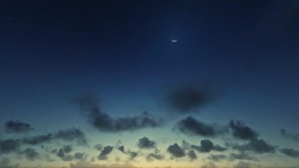 Nubes de timelapse del amanecer, vista horizonte, noche día — Vídeo de stock