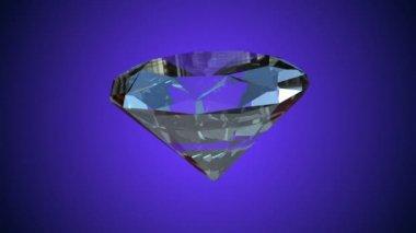 Diamond rotating seamless loop, against light blue — Stock Video