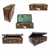 Vintage Suitcase Collage on White — Stock Photo