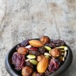 Trail Mix in Black Bowl — Stock fotografie #52922367