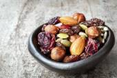 Trail Mix in Black Bowl — Stock Photo
