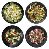 Set of Different Salads on White Background — Foto Stock