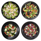 Set of Different Salads on White Background — Stok fotoğraf