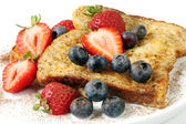 French Toast with Strawberries and Blueberries — Stock Photo