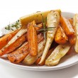 Roasted Root Vegetables in White Dish Isolated — Stock Photo #59190709