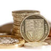 British Coins with focus on One Pound — Stock Photo