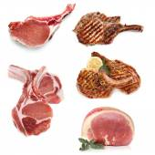 Pork Cooked and Uncooked Isolated on White — Stock Photo