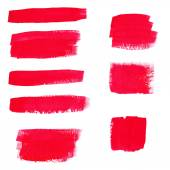 Hand-drawing red textures of brush strokes in random shape — Stock Vector