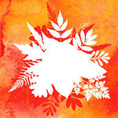 Orange watercolor painted vector autumn foliage background — 图库矢量图片