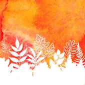 Orange watercolor painted vector autumn foliage background — Stockvector