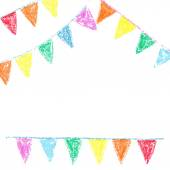 Wax crayon party bunting, isolated on white background — Stock Vector